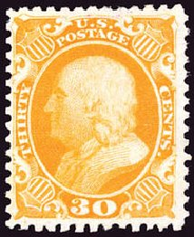 Values of US Stamp Scott Catalog #46 - 1875 30c Franklin Reprint. Schuyler J. Rumsey Philatelic Auctions, Apr 2015, Sale 60, Lot 2010