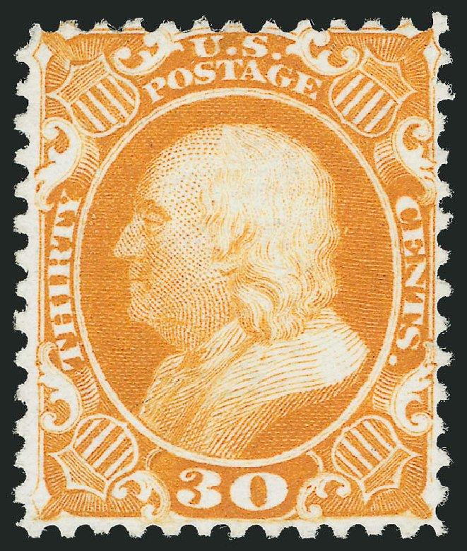 US Stamps Price Scott #46: 30c 1875 Franklin Reprint. Robert Siegel Auction Galleries, Dec 2013, Sale 1062, Lot 170