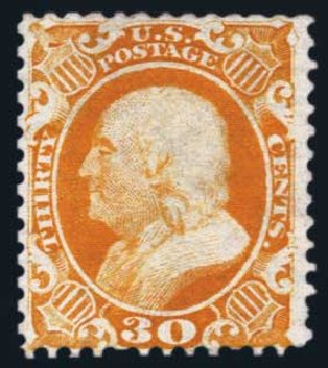 US Stamp Value Scott 46: 30c 1875 Franklin Reprint. Harmer-Schau Auction Galleries, Aug 2014, Sale 102, Lot 1691