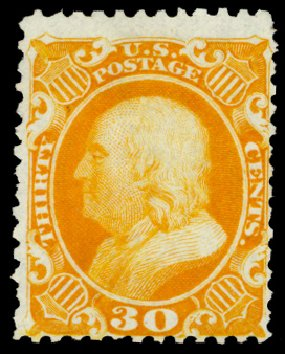 US Stamp Price Scott #46 - 30c 1875 Franklin Reprint. Daniel Kelleher Auctions, Sep 2013, Sale 639, Lot 371