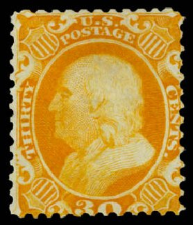 US Stamps Values Scott #46: 30c 1875 Franklin Reprint. Daniel Kelleher Auctions, Dec 2014, Sale 661, Lot 81