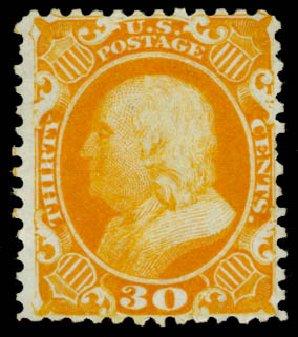 Value of US Stamps Scott Catalog 46: 1875 30c Franklin Reprint. Daniel Kelleher Auctions, Sep 2013, Sale 639, Lot 3165