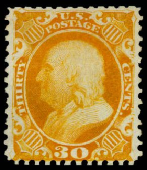 US Stamp Prices Scott Catalogue # 46: 1875 30c Franklin Reprint. Daniel Kelleher Auctions, May 2015, Sale 669, Lot 2485