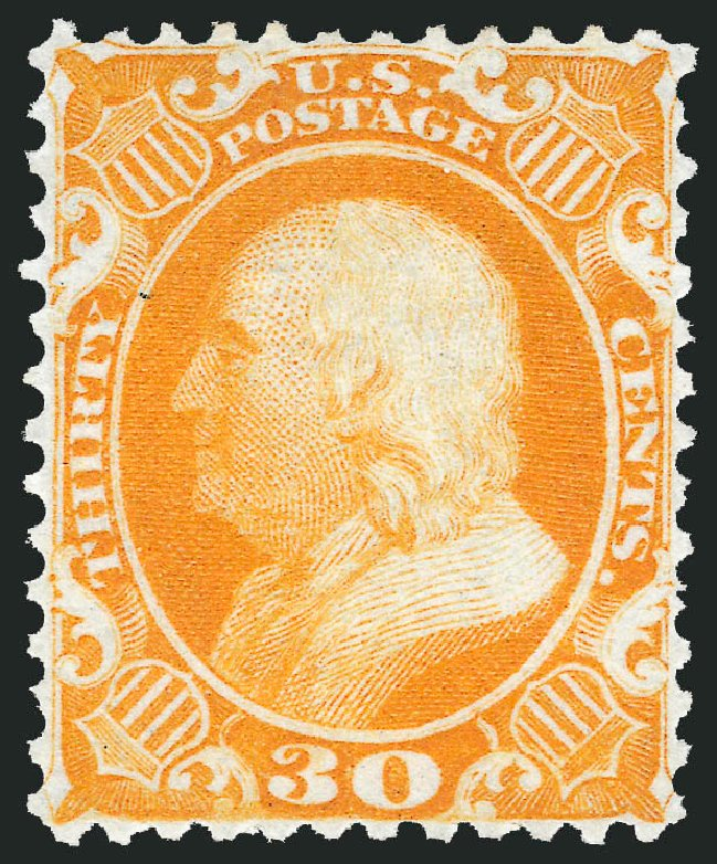 US Stamps Prices Scott # 46: 1875 30c Franklin Reprint. Robert Siegel Auction Galleries, May 2013, Sale 1044, Lot 85
