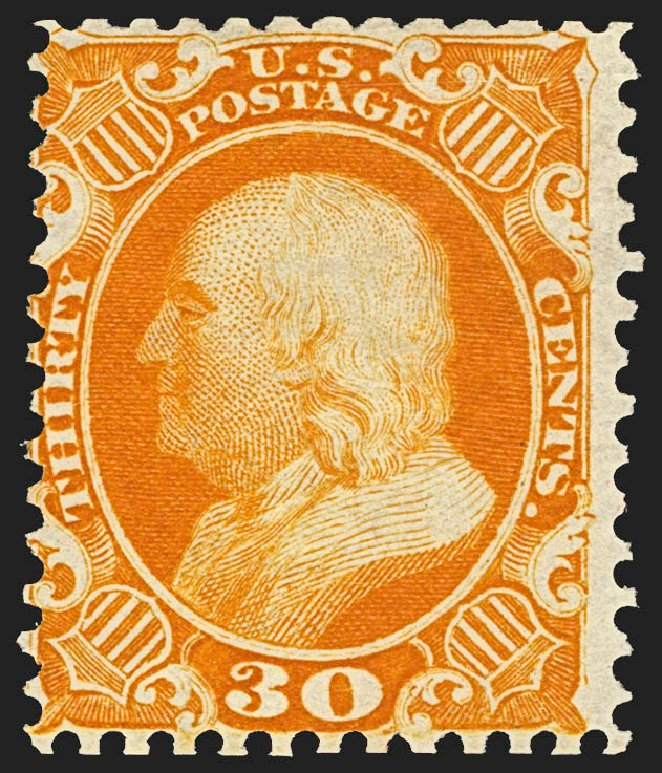 Prices of US Stamps Scott Catalogue 46: 1875 30c Franklin Reprint. Robert Siegel Auction Galleries, Jul 2015, Sale 1107, Lot 115