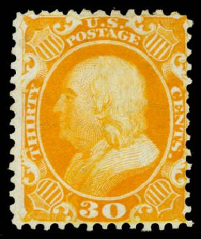 Value of US Stamp Scott Catalog #46 - 1875 30c Franklin Reprint. Daniel Kelleher Auctions, Aug 2015, Sale 672, Lot 2242