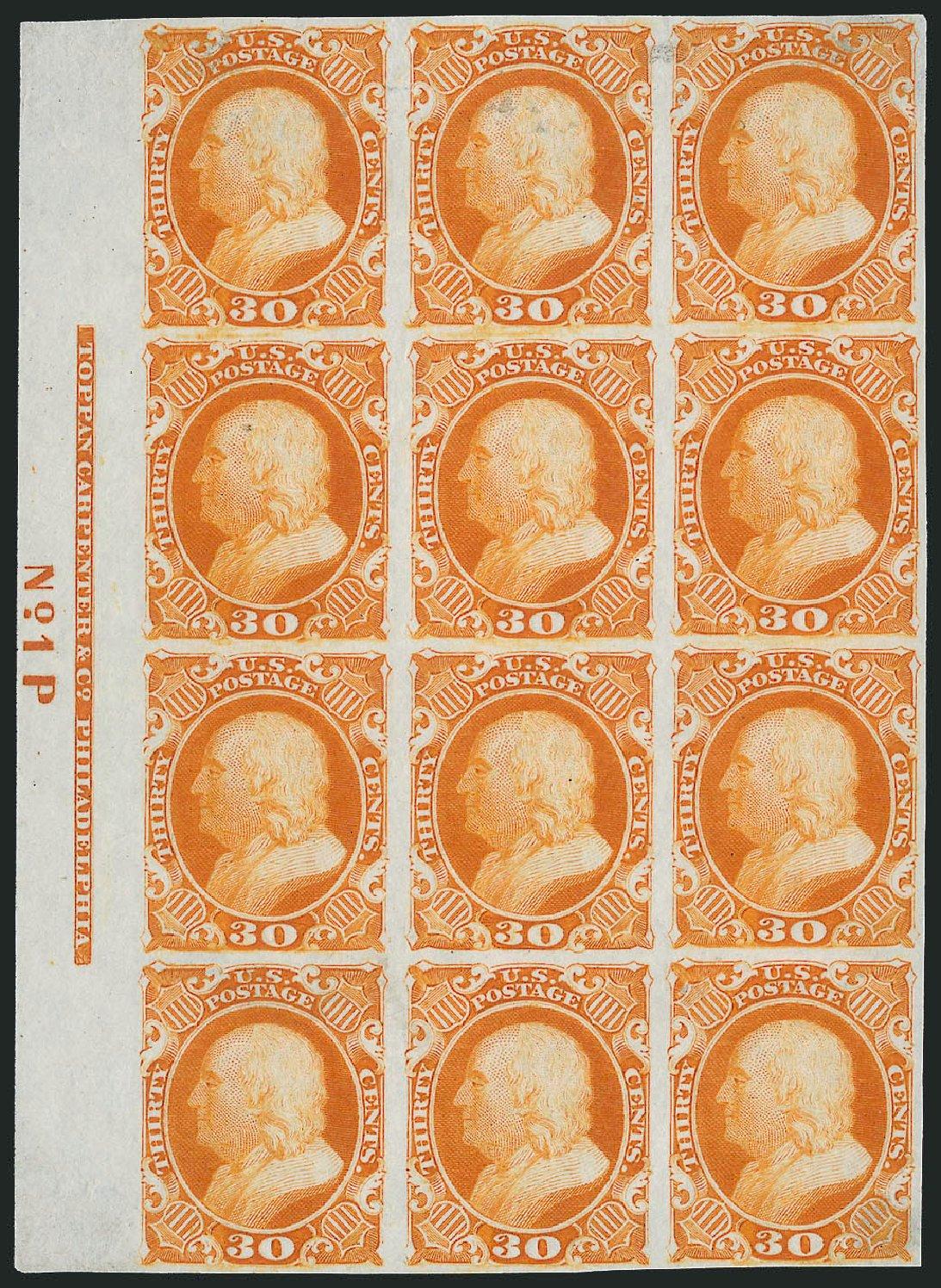US Stamps Prices Scott Catalogue #46 - 1875 30c Franklin Reprint. Robert Siegel Auction Galleries, Nov 2013, Sale 1057, Lot 502