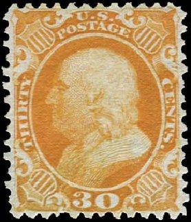 US Stamp Values Scott Catalogue #46 - 1875 30c Franklin Reprint. Regency-Superior, Aug 2015, Sale 112, Lot 143