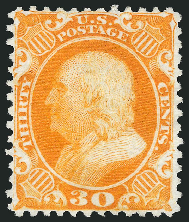 Costs of US Stamps Scott Catalogue # 46 - 30c 1875 Franklin Reprint. Robert Siegel Auction Galleries, Sep 2014, Sale 1078, Lot 143
