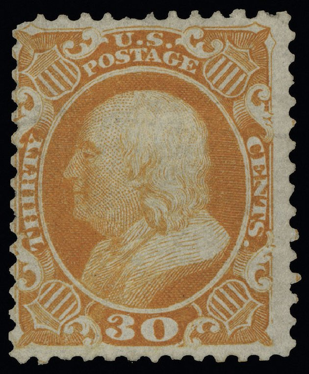 Cost of US Stamp Scott Catalogue # 46: 30c 1875 Franklin Reprint. Spink Shreves Galleries, Aug 2013, Sale 144, Lot 123