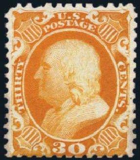 Price of US Stamps Scott Catalog 46: 1875 30c Franklin Reprint. Harmer-Schau Auction Galleries, Jan 2014, Sale 100, Lot 446