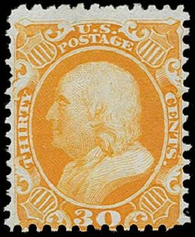 US Stamp Values Scott #46 - 30c 1875 Franklin Reprint. H.R. Harmer, Oct 2014, Sale 3006, Lot 1086