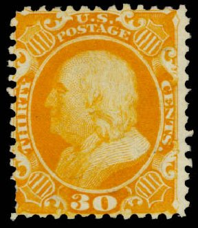 Value of US Stamp Scott Catalogue # 46 - 30c 1875 Franklin Reprint. Daniel Kelleher Auctions, Sep 2014, Sale 655, Lot 196