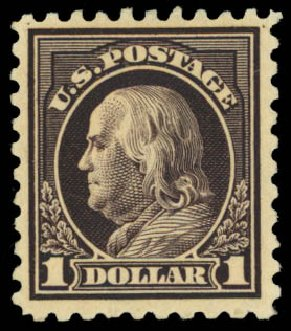 Values of US Stamp Scott #460 - US$1.00 1916 Franklin Perf 10. Daniel Kelleher Auctions, Dec 2014, Sale 661, Lot 377