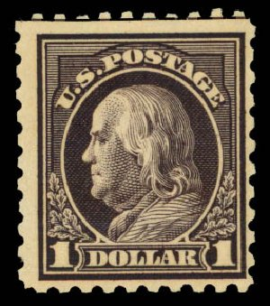Prices of US Stamp Scott Cat. # 460 - US$1.00 1916 Franklin Perf 10. Daniel Kelleher Auctions, Jan 2015, Sale 663, Lot 1807