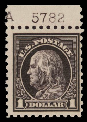 Cost of US Stamps Scott Catalog 460 - US$1.00 1916 Franklin Perf 10. Daniel Kelleher Auctions, May 2015, Sale 669, Lot 3047