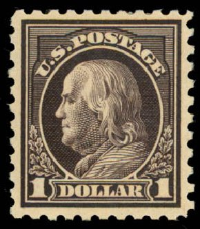 US Stamp Values Scott Catalog #460: US$1.00 1916 Franklin Perf 10. Daniel Kelleher Auctions, Aug 2015, Sale 672, Lot 2747