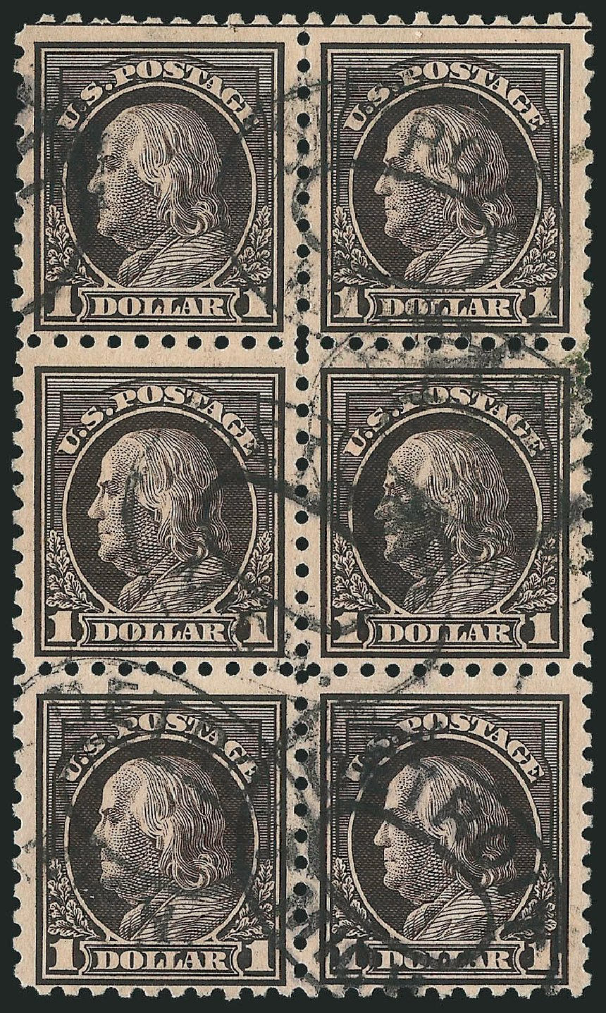 US Stamp Value Scott Catalogue 460 - US$1.00 1916 Franklin Perf 10. Robert Siegel Auction Galleries, Feb 2015, Sale 1093, Lot 377