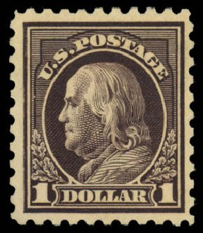 US Stamps Value Scott Cat. # 460 - US$1.00 1916 Franklin Perf 10. Daniel Kelleher Auctions, Jan 2015, Sale 663, Lot 1808