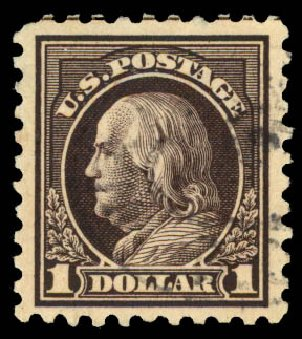 Price of US Stamp Scott Cat. 460: 1916 US$1.00 Franklin Perf 10. Daniel Kelleher Auctions, Aug 2015, Sale 672, Lot 2748