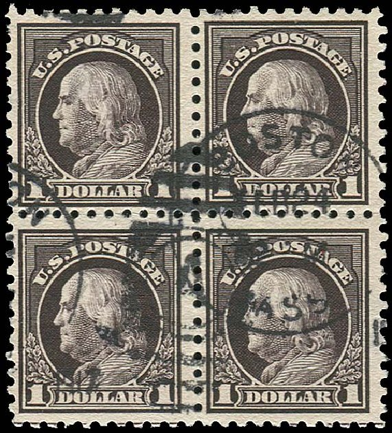 US Stamp Price Scott Catalogue 460 - 1916 US$1.00 Franklin Perf 10. Regency-Superior, Nov 2014, Sale 108, Lot 869