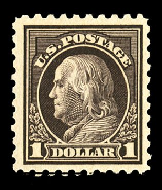 Value of US Stamps Scott Catalogue # 460 - 1916 US$1.00 Franklin Perf 10. Cherrystone Auctions, Jul 2015, Sale 201507, Lot 2160