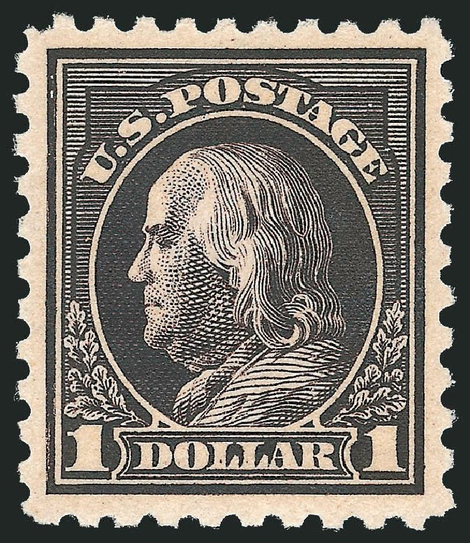 Values of US Stamps Scott Catalog #460 - US$1.00 1916 Franklin Perf 10. Robert Siegel Auction Galleries, Feb 2015, Sale 1092, Lot 1330