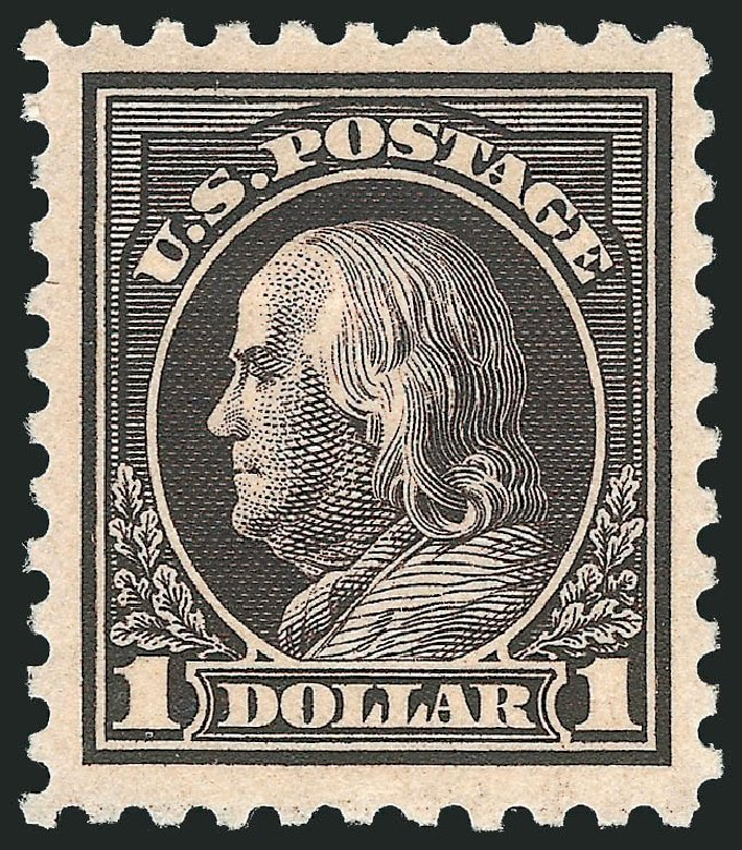 US Stamp Values Scott Catalog #460 - 1916 US$1.00 Franklin Perf 10. Robert Siegel Auction Galleries, Feb 2015, Sale 1092, Lot 1331