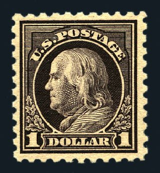 US Stamp Values Scott Cat. # 460: 1916 US$1.00 Franklin Perf 10. Harmer-Schau Auction Galleries, Aug 2015, Sale 106, Lot 1834