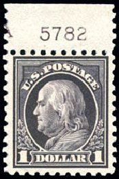Price of US Stamps Scott Catalog # 460: 1916 US$1.00 Franklin Perf 10. Schuyler J. Rumsey Philatelic Auctions, Apr 2015, Sale 60, Lot 2824
