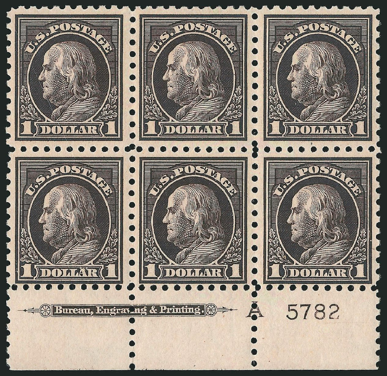 Costs of US Stamp Scott 460: 1916 US$1.00 Franklin Perf 10. Robert Siegel Auction Galleries, Feb 2015, Sale 1093, Lot 374