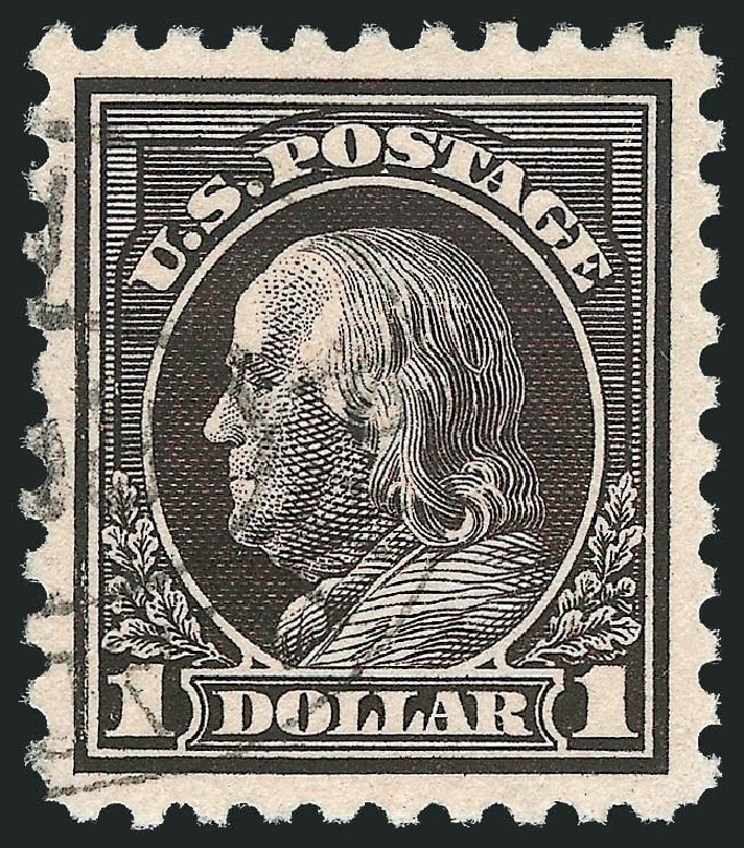 Value of US Stamp Scott Catalogue 460: 1916 US$1.00 Franklin Perf 10. Robert Siegel Auction Galleries, Feb 2015, Sale 1093, Lot 375
