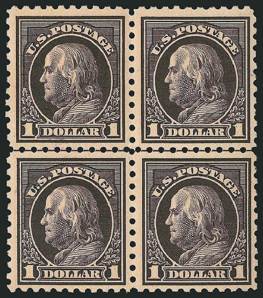 US Stamp Value Scott Catalog # 460: 1916 US$1.00 Franklin Perf 10. Robert Siegel Auction Galleries, Apr 2015, Sale 1096, Lot 705