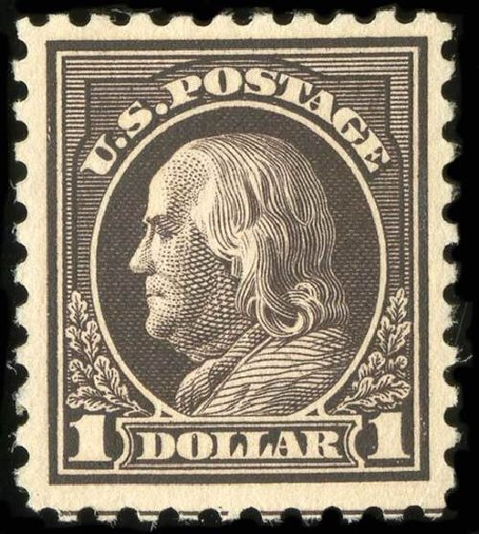 US Stamps Value Scott Cat. #460 - 1916 US$1.00 Franklin Perf 10. Spink Shreves Galleries, Jul 2015, Sale 151, Lot 305