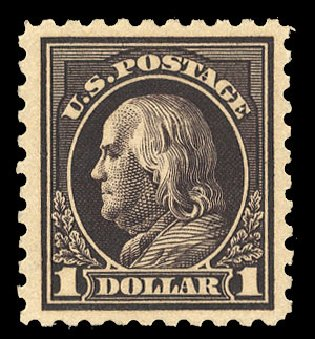 Costs of US Stamps Scott Cat. 460: US$1.00 1916 Franklin Perf 10. Cherrystone Auctions, Mar 2015, Sale 201503, Lot 52