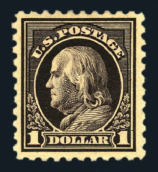 Value of US Stamp Scott Catalogue # 460: US$1.00 1916 Franklin Perf 10. Harmer-Schau Auction Galleries, Aug 2015, Sale 106, Lot 1833