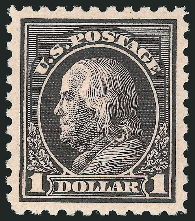 Values of US Stamps Scott Catalogue # 460 - US$1.00 1916 Franklin Perf 10. Robert Siegel Auction Galleries, Feb 2015, Sale 1093, Lot 373