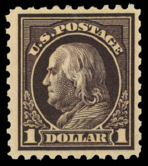 US Stamps Prices Scott Catalog 460: 1916 US$1.00 Franklin Perf 10. Daniel Kelleher Auctions, Dec 2014, Sale 661, Lot 376