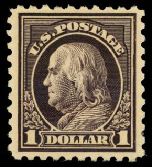 Costs of US Stamps Scott # 460: 1916 US$1.00 Franklin Perf 10. Daniel Kelleher Auctions, Jan 2015, Sale 663, Lot 1806