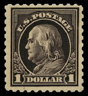 Value of US Stamp Scott Catalog 460 - US$1.00 1916 Franklin Perf 10. Daniel Kelleher Auctions, May 2015, Sale 669, Lot 3046