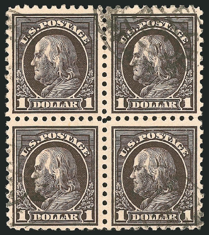 Prices of US Stamp Scott Catalog 460 - 1916 US$1.00 Franklin Perf 10. Robert Siegel Auction Galleries, Feb 2015, Sale 1093, Lot 376