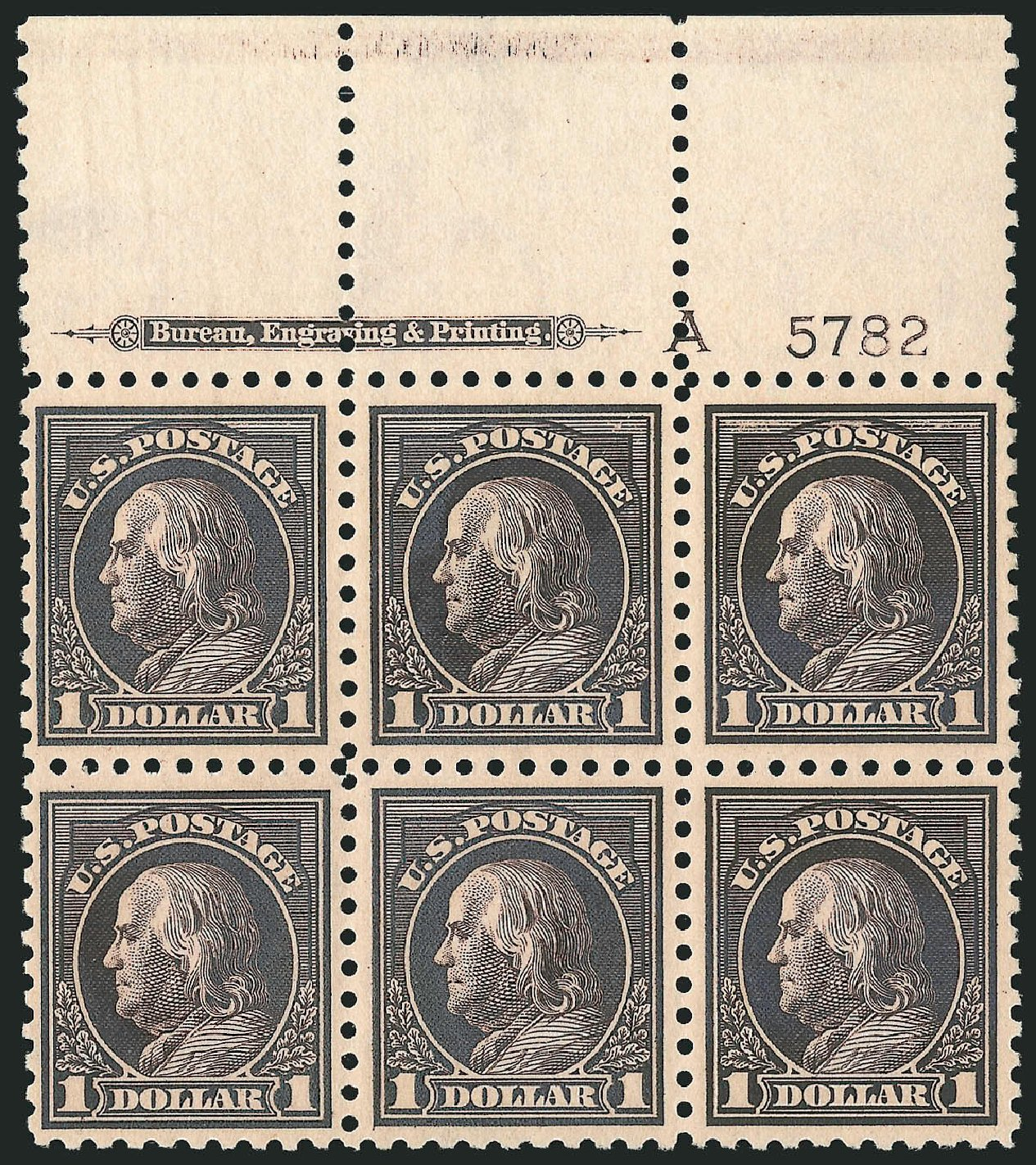 Value of US Stamps Scott 460: US$1.00 1916 Franklin Perf 10. Robert Siegel Auction Galleries, Apr 2015, Sale 1096, Lot 706