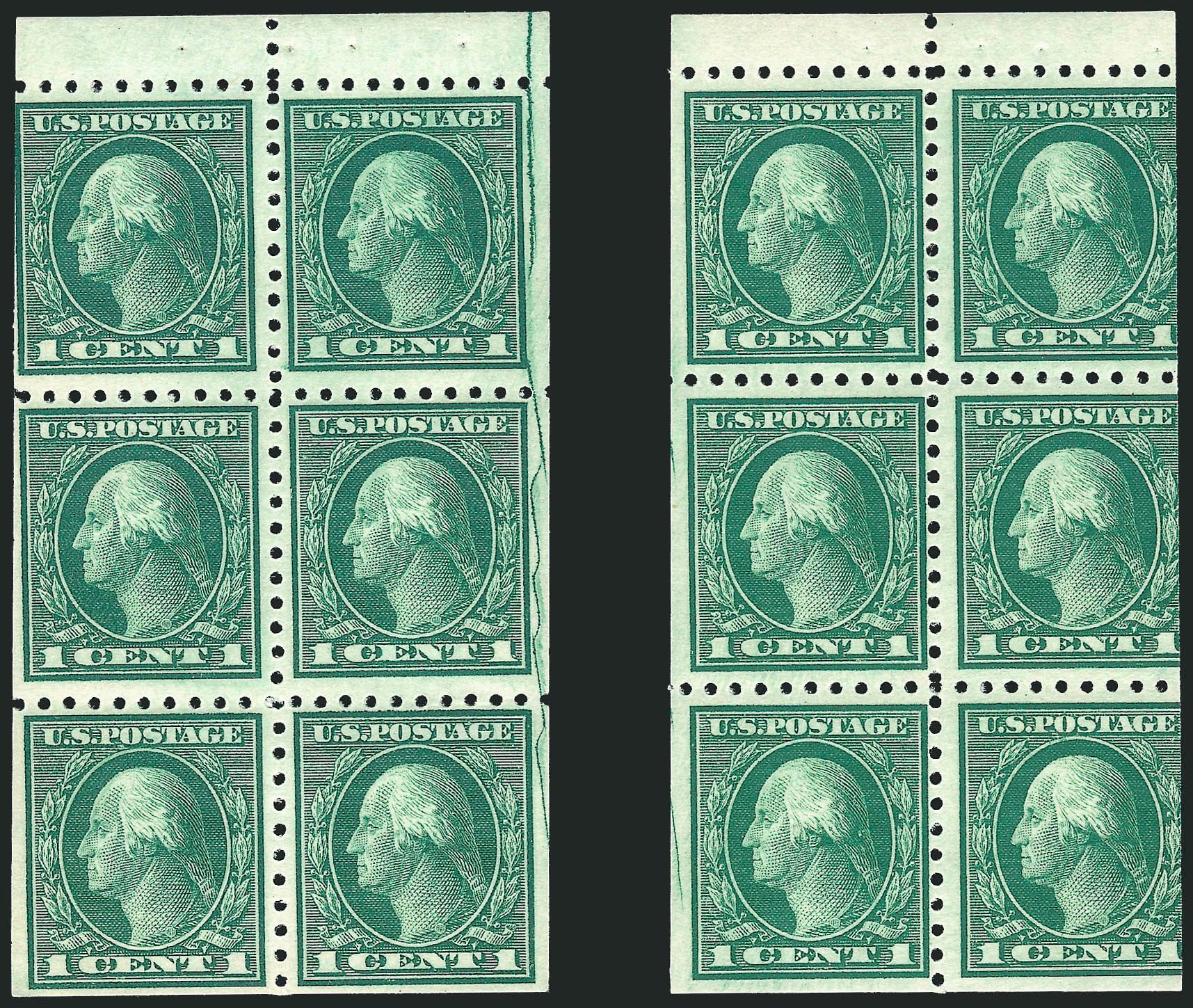 US Stamps Prices Scott Cat. #462 - 1916 1c Washington Perf 10. Robert Siegel Auction Galleries, Sep 2014, Sale 1078, Lot 546