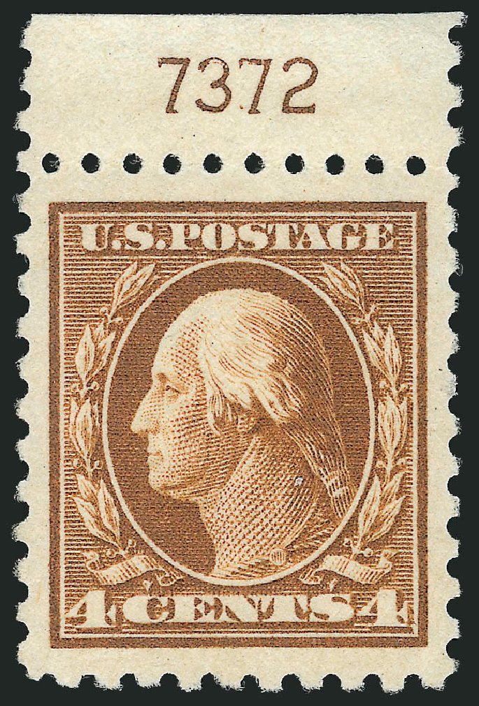 US Stamp Value Scott Cat. # 465: 4c 1916 Washington Perf 10. Robert Siegel Auction Galleries, Mar 2014, Sale 1067, Lot 1551