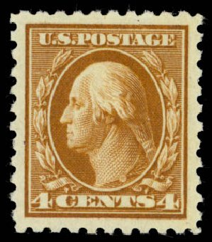Value of US Stamps Scott #465 - 1916 4c Washington Perf 10. Daniel Kelleher Auctions, Oct 2014, Sale 660, Lot 2384