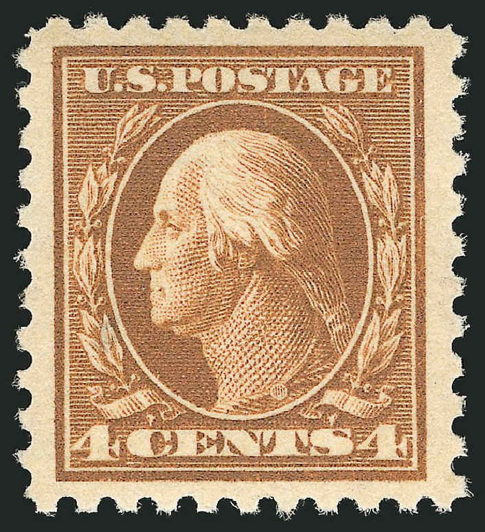 US Stamps Prices Scott # 465 - 4c 1916 Washington Perf 10. Robert Siegel Auction Galleries, Apr 2014, Sale 1068, Lot 275