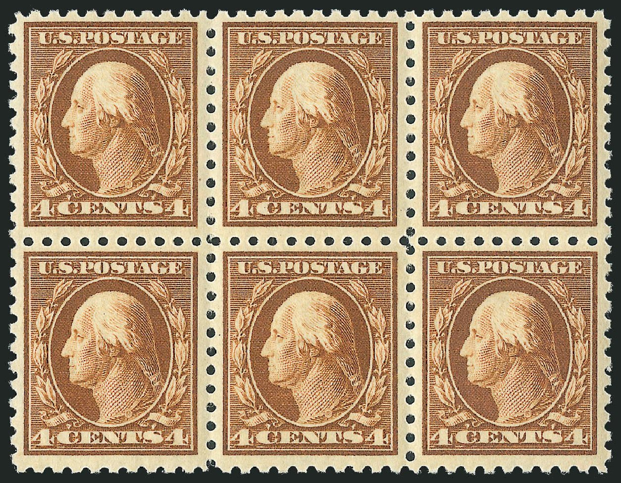 US Stamp Values Scott Cat. #465: 4c 1916 Washington Perf 10. Robert Siegel Auction Galleries, Jul 2013, Sale 1050, Lot 582