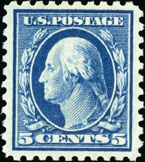 Values of US Stamps Scott Cat. # 466 - 1916 5c Washington Perf 10. Spink Shreves Galleries, Jan 2015, Sale 150, Lot 185