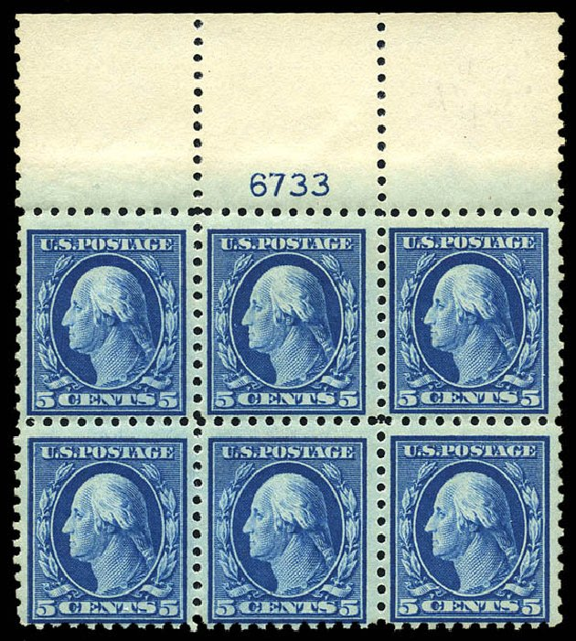 US Stamp Values Scott Catalogue #466: 5c 1916 Washington Perf 10. Matthew Bennett International, May 2014, Sale 350, Lot 613