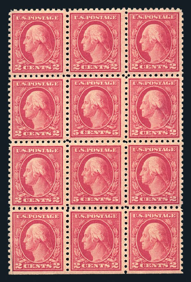 Values of US Stamps Scott #467 - 5c 1917 Washington Perf 10 error. Harmer-Schau Auction Galleries, Aug 2015, Sale 106, Lot 1840